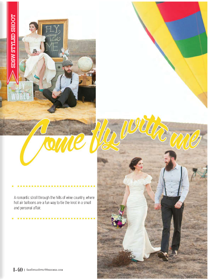 hot air balloon featured in san diego style weddings magazine
